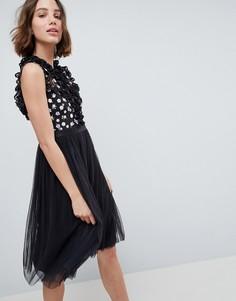 Платье миди с декоративными вырезами Needle & Thread - Серый