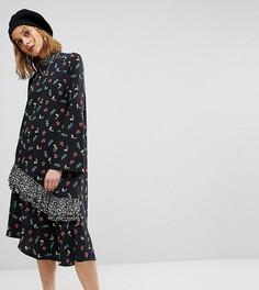 Платье миди с принтом и открытой спиной Reclaimed Vintage - Мульти
