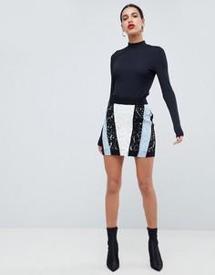 Мини-юбка с контрастной кружевной вставкой Morgan - Мульти