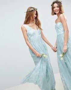 Платье макси с кружевными вставками ASOS DESIGN - Зеленый