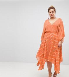 Платье миди в блестящий горошек с широкими рукавами и асимметричным подолом ASOS CURVE - Оранжевый