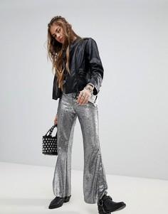 Расклешенные брюки с пайетками Native Rose - Серебряный
