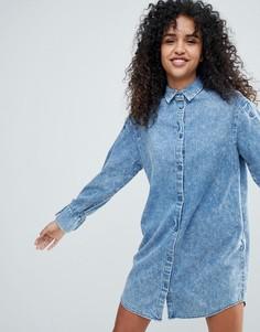 Джинсовое платье-рубашка Monki - Синий