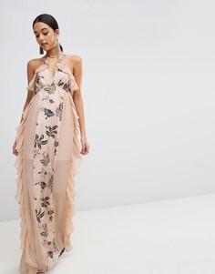 Платье макси с цветочным принтом The Jetset Diaries - Розовый
