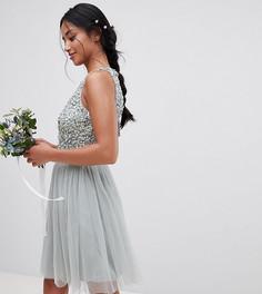 Платье мини без рукавов с пайетками на лифе и вырезом на спине Maya Petite - Зеленый