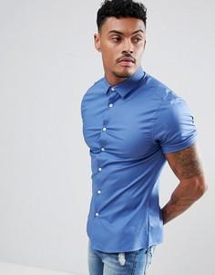 Синяя приталенная рубашка с короткими рукавами ASOS DESIGN - Синий