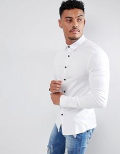 Белая приталенная рубашка из вискозы ASOS DESIGN - Белый