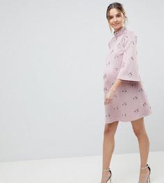 Платье мини с отделкой ASOS DESIGN Maternity - Розовый