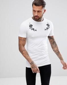 Длинная обтягивающая футболка с вышивкой роз ASOS DESIGN - Белый