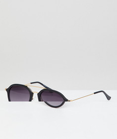 Черные круглые солнцезащитные очки с золотистой планкой AJ Morgan - Черный