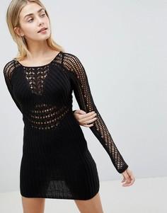 Ажурное облегающее платье с длинными рукавами ASOS DESIGN - Черный