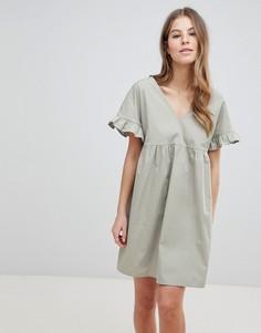 Хлопковое свободное платье с V-образным вырезом на груди и спине ASOS DESIGN - Зеленый