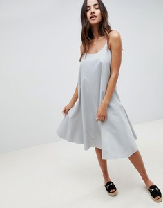 Летнее платье-трапеция миди ASOS DESIGN - Синий
