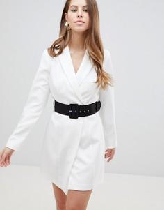 Платье мини в стиле смокинга с поясом ASOS DESIGN - Белый