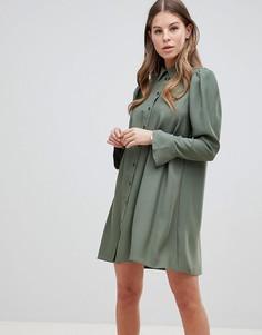 Платье-рубашка мини с длинными рукавами ASOS DESIGN - Зеленый