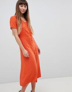 Чайное платье миди на пуговицах New Look - Оранжевый