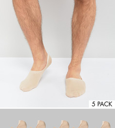 5 пар бежевых незаметных носков ASOS - Бежевый