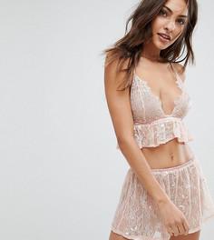 Пижама с розовым кружевным топом и шортами Wolf & Whistle - Розовый