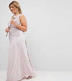 Платье макси с бантом на спине TFNC Plus - Коричневый