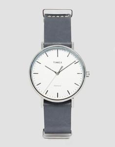 Часы с серым кожаным ремешком Timex Fairfield TW2P91300 - Черный
