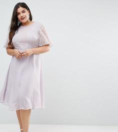 Платье миди с кружевной аппликацией ASOS DESIGN Curve Bridesmaid - Синий