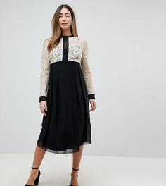 Платье с кружевным лифом и расклешенной юбкой Little Mistress Maternity - Мульти