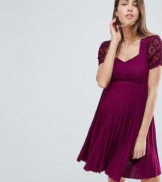 Приталенное плиссированное платье с кружевными вставками ASOS MATERNITY - Красный
