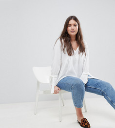 Свободная блузка с завязками на манжетах Boohoo Plus - Белый
