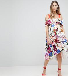 Платье миди для выпускного с вырезами на плечах и цветочным принтом ASOS MATERNITY - Мульти