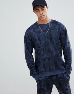 Темно-синий свитшот с камуфляжным принтом boohooMAN - Темно-синий