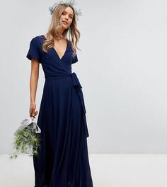 Платье макси с запахом, поясом на завязке и пышными рукавами TFNC - Темно-синий