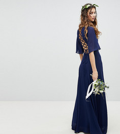 Платье макси с рукавами клеш и шнуровкой на спине TFNC - Темно-синий