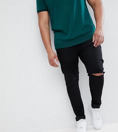 Черные джинсы с напылением и рваными коленями ASOS PLUS - Черный