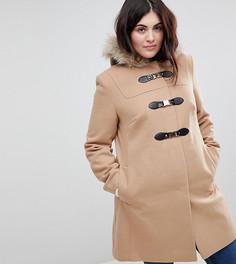 Пальто с искусственным мехом на капюшоне ASOS CURVE - Светло-бежевый