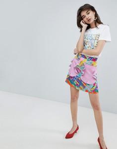 Мини-юбка с контрастными карманами и оборками House Of Holland - Мульти