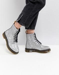 Серебристые веганские ботинки со шнуровкой Dr.Martens - Серебряный