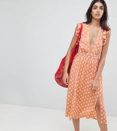 Платье миди с рукавами клеш и узором в горошек Glamorous Tall - Розовый