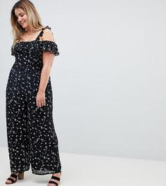 Комбинезон с оборками и цветочным принтом Glamorous Curve - Черный