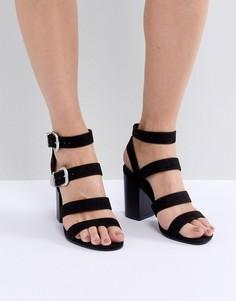 Босоножки на блочном каблуке с ремешками и пряжками в стиле вестерн New Look - Черный