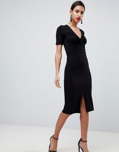 Платье-футляр из понте с перекрученной отделкой ASOS - Черный