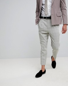 Суженные клетчатые брюки в строгом стиле из шерстяной смеси ASOS Wedding - Серый