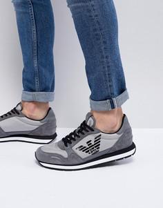 Серые кроссовки с замшевыми вставками Emporio Armani - Серый