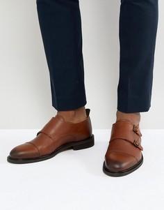 Кожаные монки с двумя ремешками Selected Homme - Коричневый