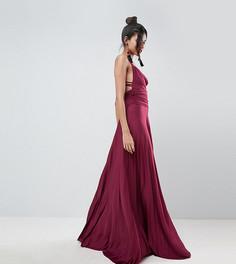 Платье макси с плиссированной юбкой, свободным воротом и бретельками ASOS TALL - Фиолетовый