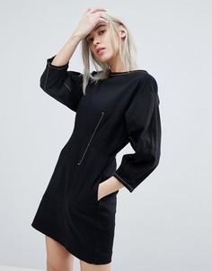 Платье мини с контрастной строчкой Weekday - Черный