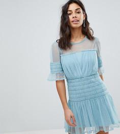 Короткое приталенное платье из сетки в горошек ASOS PETITE - Синий