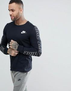 Черный лонгслив с принтом на рукавах Nike AV15 891954-010 - Черный