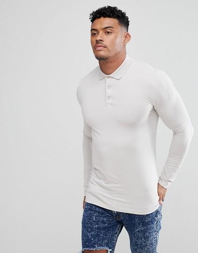 Серая обтягивающая футболка-поло с длинными рукавами ASOS DESIGN - Серый