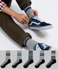 5 пар серых спортивных носков с фирменной подошвой ASOS - Серый