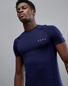 Темно-синяя обтягивающая футболка из быстросохнущей ткани ASOS 4505 - Темно-синий